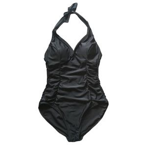 Size 16 Ruched Maillot One Piece Black Swim Suit